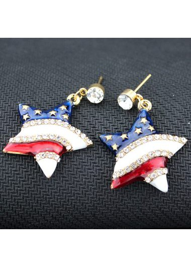 Rhinestone Decorated Star Shape Design Earrings