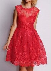 Red Cap Sleeve Lace Skater Dress