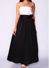 High Waist Black Pocket Belted Maxi Skirt