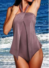Dark Grey Halter Neck One Piece Swimwear