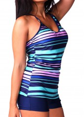 Stripe Print V Neck Navy Blue Tankini
