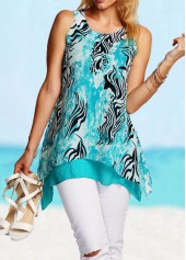 Printed Blue Asymmetric Hem Tank Top