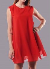 Sleeveless Round Neck Straight Chiffon Dress