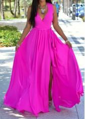 V Neck Slit Design Rose Maxi Dress