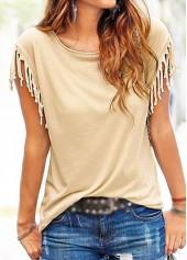 Tassel Decorated Short Sleeve Light Khaki T Shirt