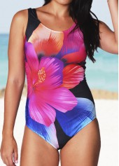 Open Back Flower Print One Piece Swimwear