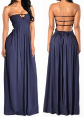 Strapless Solid Navy Blue Maxi Dress