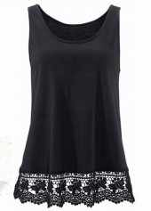 Lace Panel Round Neck Black Tank Top