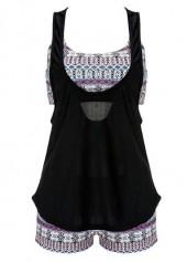 Cutout Design Top and Printed Shorts Swimwear Set