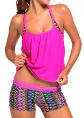 wholesale Round Neck Top and Printed Shorts Swimwear