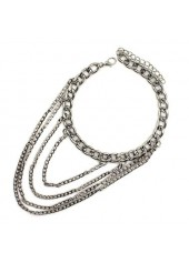 Woman Silver Layered Metal Chain Anklet
