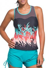 Printed Round Neck Racer Back Tankini Top