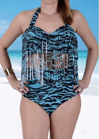 Print Halter Fringe Embellished Swimsuit