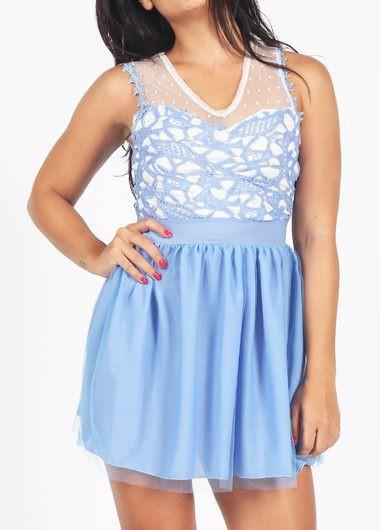 Hollow Back Blue Lace Crochet Mini Dress