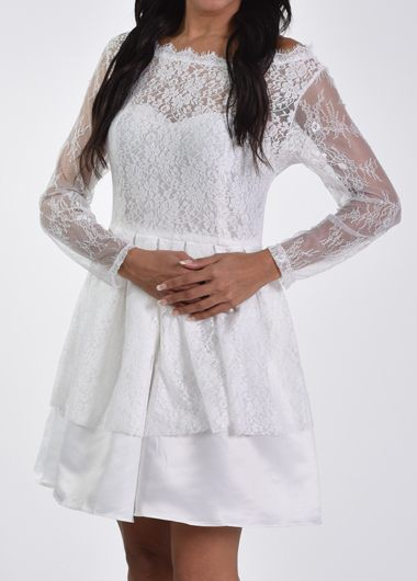Boat Neck Hollow Back Long Sleeve Lace Dress