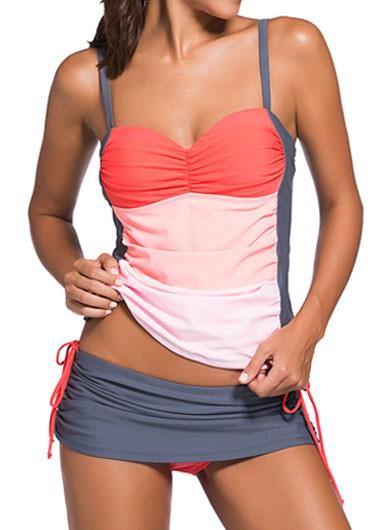 Color Block Top and Grey Pantskirt Swimwear