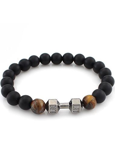 Image of Dumbbell and Brown Bead Decorated Black Bracelet