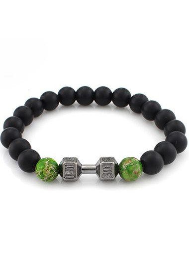 Image of Black and Green Bead Decorated Bracelet