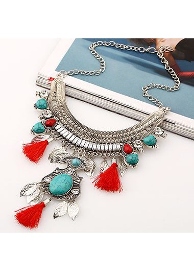Cyan Stone Decorated Metal Necklace for Woman