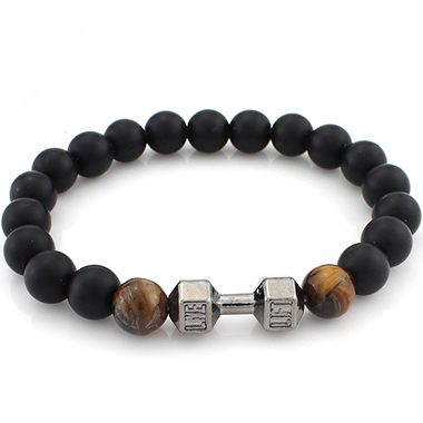 Dumbbell and Brown Bead Decorated Black Bracelet