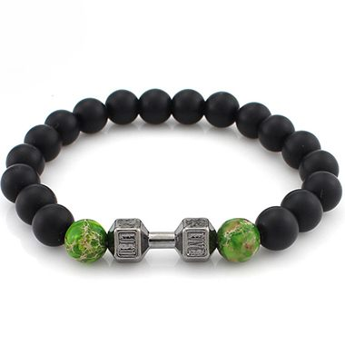 Black and Green Bead Decorated Bracelet