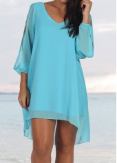 Split Long Sleeve Blue Chiffon Shift Dress
