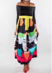 Off the Shoulder Printed Maxi Dress