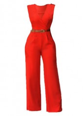 High Waist Solid Orange V Neck Jumpsuits