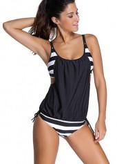 Spaghetti Strap Stripe Print Black Tankini Swimwear