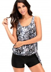 Round Neck Printed Top and Black Shorts Swimwear