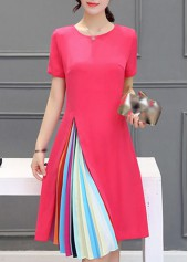 Round Neck Short Sleeve Rose Dress