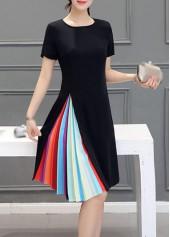 Black Short Sleeve Stripe Print Dress