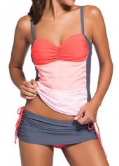 Color-Block-Top-and-Grey-Pantskirt-Swimwear