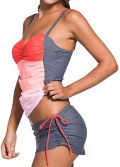 wholesale Color Block Top and Grey Pantskirt Swimwear