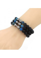 Dumbbell and Bead Decorated Black Bracelet