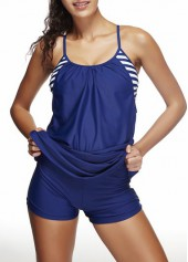 Open Back Navy Blue Swimdress and Shorts