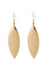 wholesale Leaf Shape Pendant Gold Metal Earrings