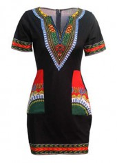 Black Split Neck Dashiki Print Mini Dress