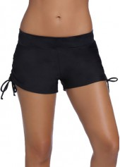 wholesale Drawstring Design Black Swim Shorts for Woman