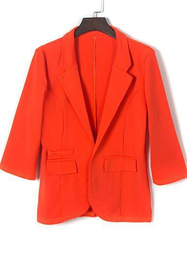 Orange Notch Collar Blazer and Shorts