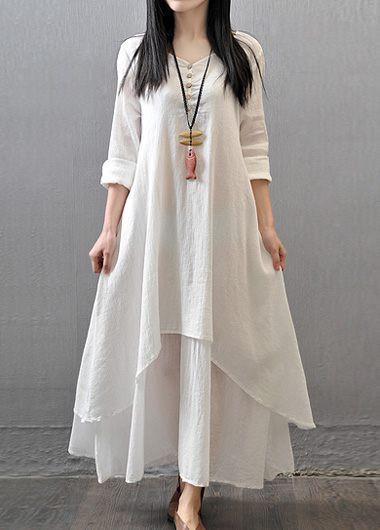 Button-Decorated-V-Neck-White-Maxi-Dress