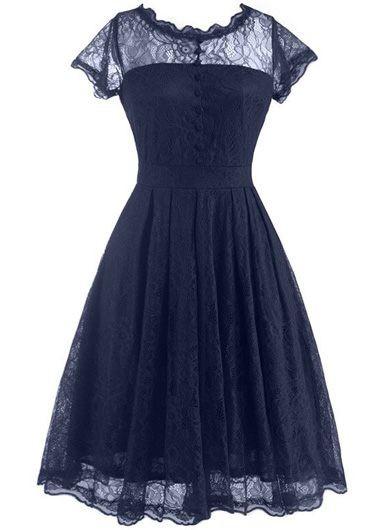 V Back Cap Sleeve Lace Skater Dress