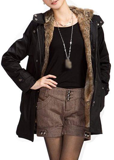 Black Hooded Collar Long Sleeve Belted Parka Coat