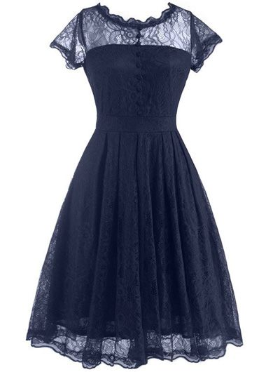 V Back Cap Sleeve Lace Skater Dress