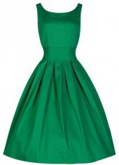 Green Sleeveless Pleated Vintage A Line Dress