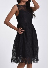 Black Sleeveless Lace A Line Dress