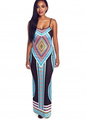 Open Back Tribal Print High Slit Dress
