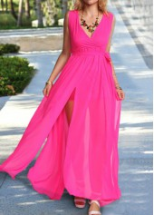 V Neck Slit Design Rose Maxi Dress