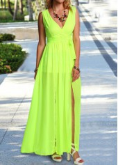 V Neck Slit Design Light Green Maxi Dress