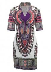 Dashiki Print Short Sleeve Mini Dress